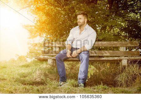 An image of a man having a rest