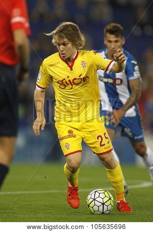 BARCELONA - OCT, 3: Alen Halilovic of Sporting Gijon during a Spanish League match against RCD Espanyol at the Power8 stadium on October 3 2015 in Barcelona Spain