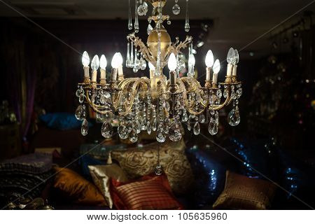 Illuminating Gold Chandelier In Modern Luxurious Apartment