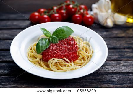 Spaghetti With Marinara Sauce And Basil Leaves On Top, Decorated