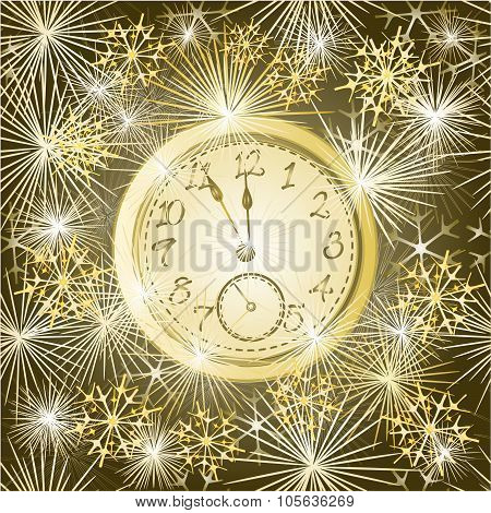 Seamless Texture New Year Clock And Fireworks Vector Copy