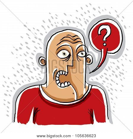 Discussion Concept, Conversation Idea. Illustration Of Man Talking. Question Mark
