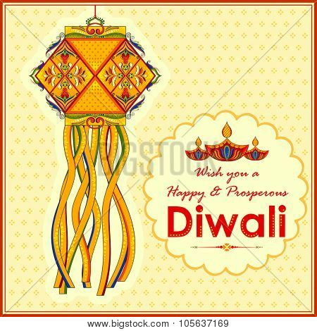 illustration of hanging kandil lamp and diya for Diwali decoration