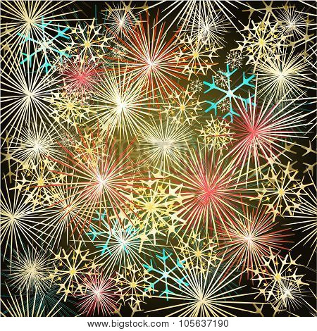 Happy New Year Colorful Fireworks Vector