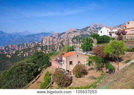 Rural Landscape, Houses In Mountains Of Corsica