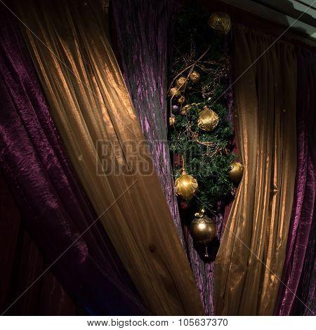 Christmas Decorated Curtains, Luxurious Interior Design