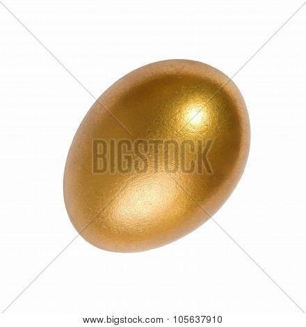Golden Easter eggs on white