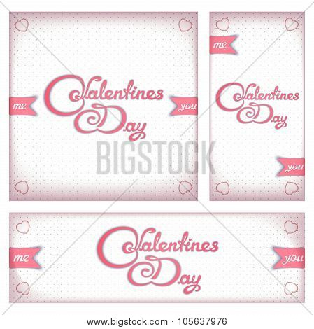 Retro banners and flyers for Valentine's day