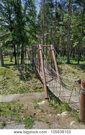 Rope bridge in Prevails Mali town or Stari Mali grad attraction