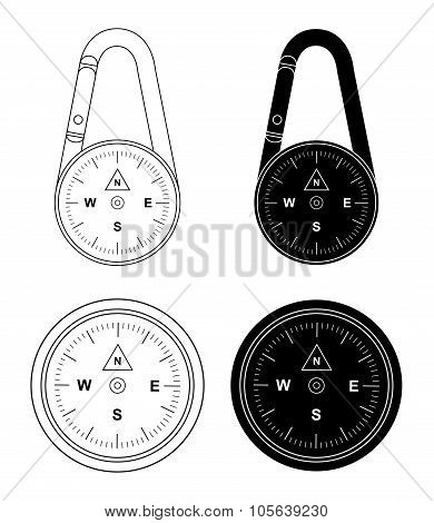 Compass Set. Contour And Silhouette