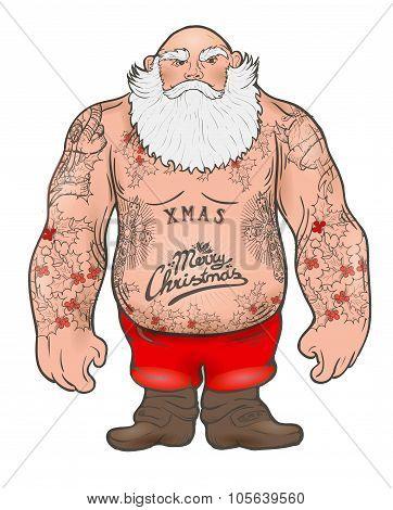 Brutal Santa Claus Bodybuilder, tattoos
