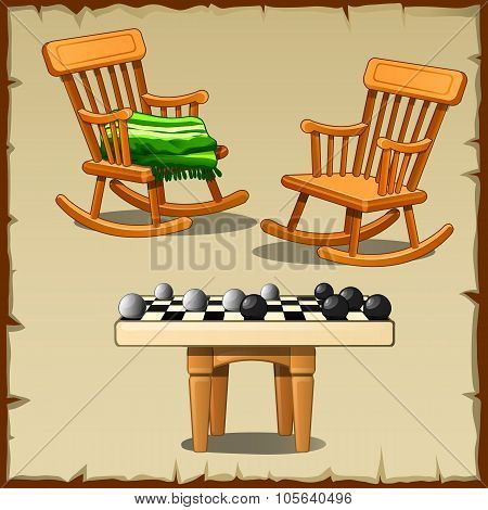 Set of two rocking chairs with checkers on wooden stools