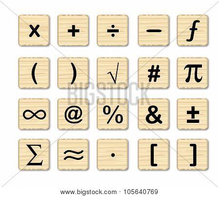 Wooden Math Symbols