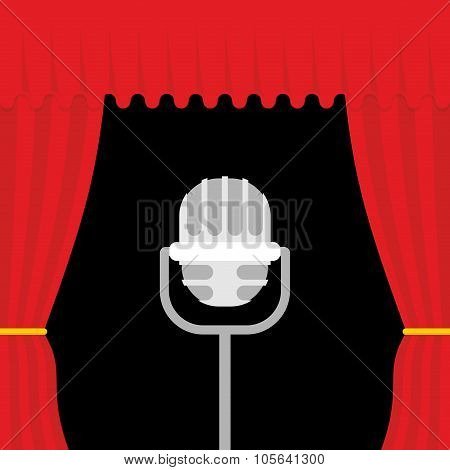 Stage With Red Curtain And Retro Microphone. Open Theatre Curtain. Device For Presentations. Accesso