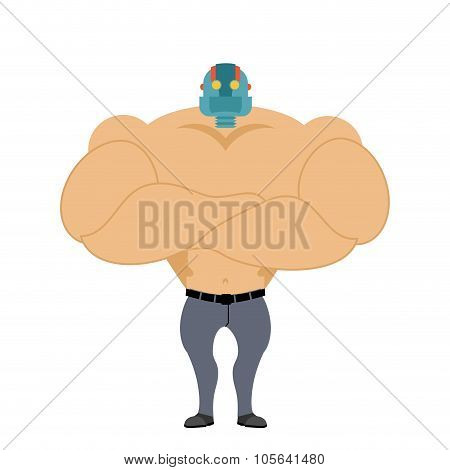 Man With Head Of Robot. Cyborg Android. Mechanical Head Man. Bodybuilder With Cybernetic Head. Futur