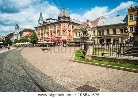 Kosice, Slovakia- 10 Jule 2015:  beautiful view on central street of Kosice in Slovakia