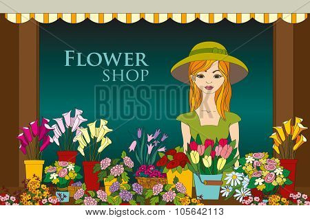 Vector Illustration Of Florist Girl