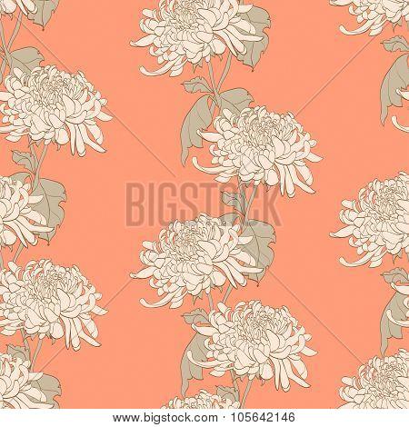 Floral Seamless Pattern With Chrysanthemum On Light Orange Background
