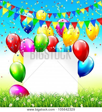 Celebration background with frame buntings balloons grass lawn a