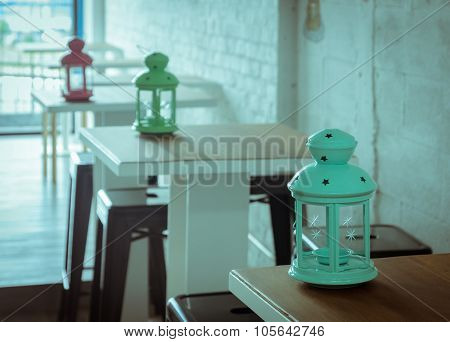 Candle Lantern Decorated In Coffee Shop