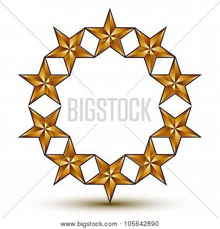 3D Vector Classic Royal Symbol, Sophisticated Golden Round Emblem With Pentagonal Stars Isolated On