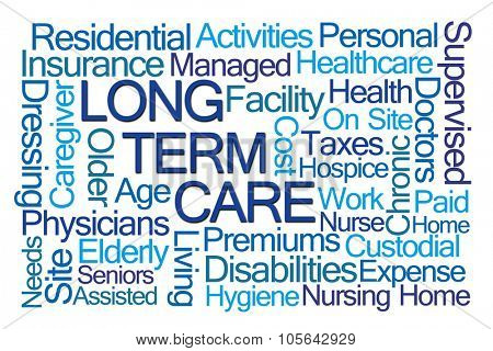 Long Term Care Word Cloud on White Background