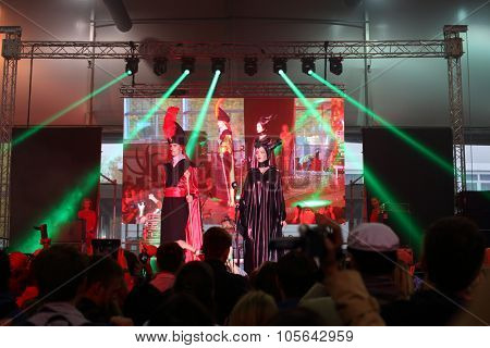 MOSCOW - OCT 12, 2014: Performances of cosplayers EveryCon 2014 on the stage in the exhibition center Sokolniki
