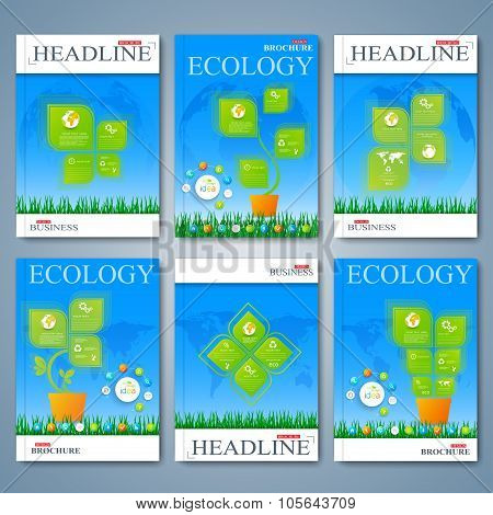 Modern vector set of brochures, magazine, flyer, booklet, cover or report in A4 size. Ecology design