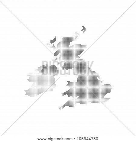 Grey Map United Kingdom In The Dot . Vector illustration