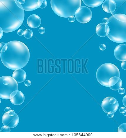 Transparent soap bubbles like frame on blue