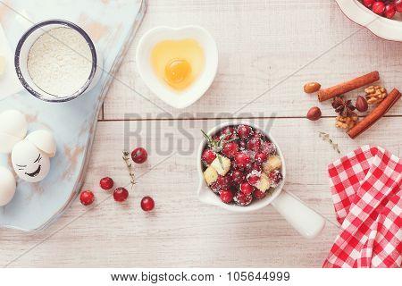 Cranberry, Apple and Walnut tart