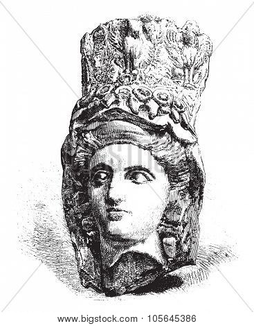 Vendome Museum, Head ancient terracotta, vintage engraved illustration. Magasin Pittoresque 1877.