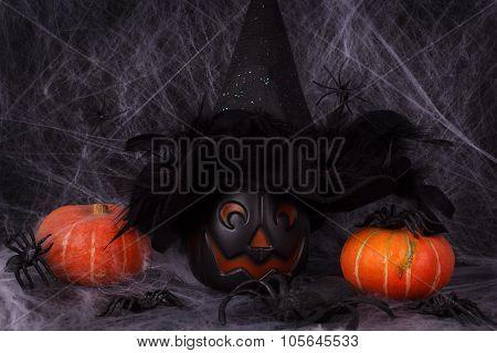 Halloween Pumpkins, Spider, Spider Web, Witch Hat