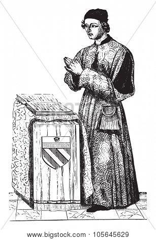 Jean Juvenal des Ursins, vintage engraved illustration. Magasin Pittoresque 1867.