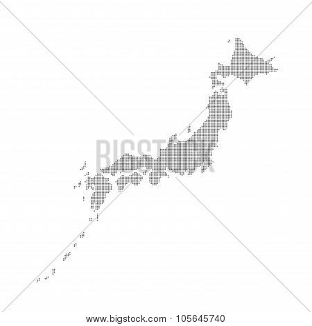 Grey Map Japan In The Dots . Vector illustration