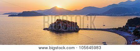Sunset And Sveti Stefan Sea Islet (montenegro)