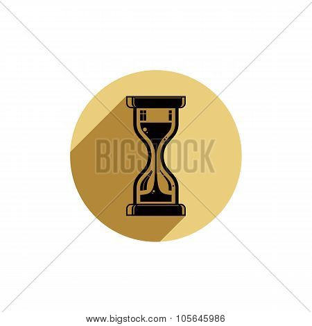 Classic Sand-glass Illustration, Antique Hourglass Placed In A Circle. Time Conceptual Icon, For Use