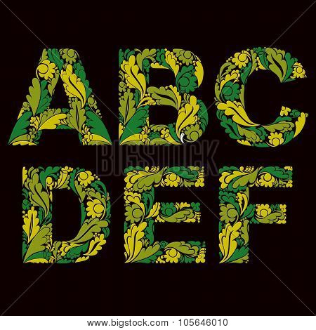 Decorative Typescript With Natural Pattern. Flowery Alphabet, Calligraphic Uppercase Letters, Spring
