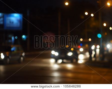 Night Road In The City With Abstract Motion Blur Of Lights