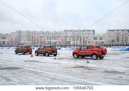 MOSCOW - DEC 05, 2014: New cars at the opening of the Academy of safe driving Ford in Moscow