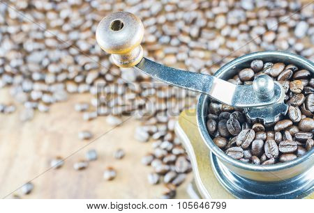 Closeup Of Coffee Beans With Focus Coffee Beans On Coffee Grinder