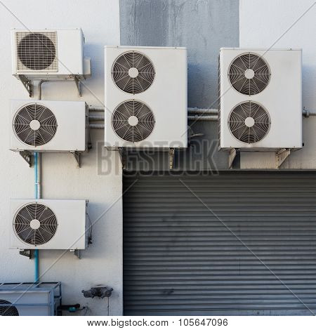 Air Conditioning Compressor System Outside The Factory