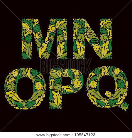Ornamental Typescript, M, N, O,p, Q Letters Decorated With Herbal Pattern Isolated.