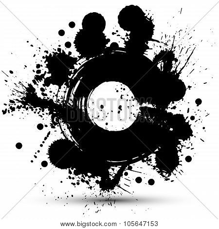 Black And White Vector Ink Splash Seamless Pattern, Monochrome Dirty Graphic Art Repeat Backdrop Wit