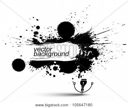 Vector Ink Splash Monochrome Seamless Pattern With Rounded Overlap Shapes, Black And White Graphic A