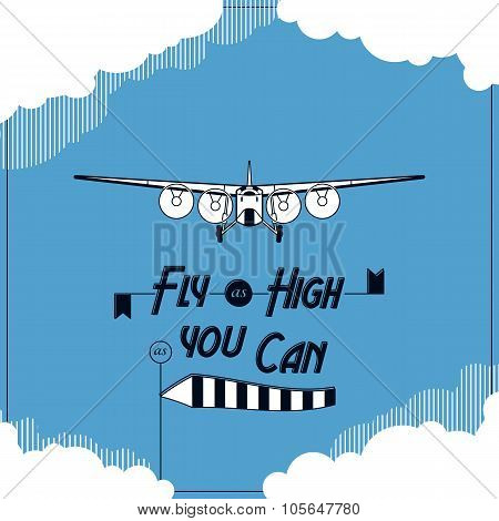Vector retro plane typographic card