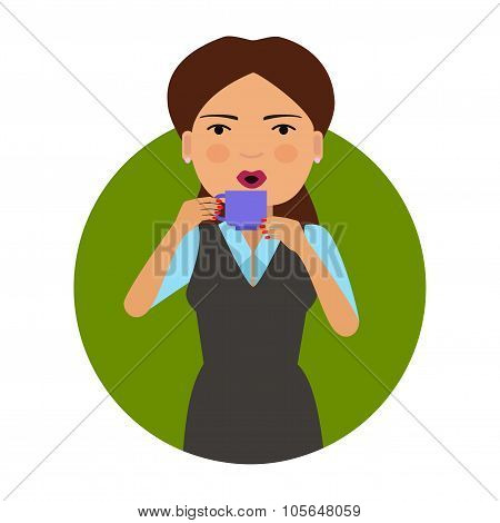 Woman drinking hot drink
