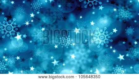 Blue  Christmas Background and snowflakes.