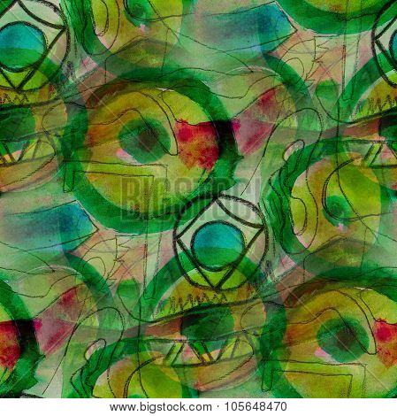 seamless background watercolor Picasso Style Green brush color water abstract art