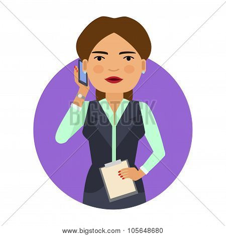 Businesswoman with phone and clipboard